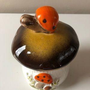 Small vintage mushroom container